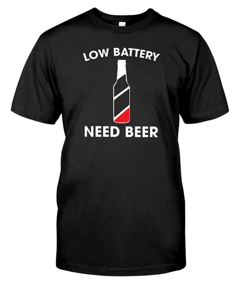 Low Battery Need Beer Bottle T-shirt Black B5