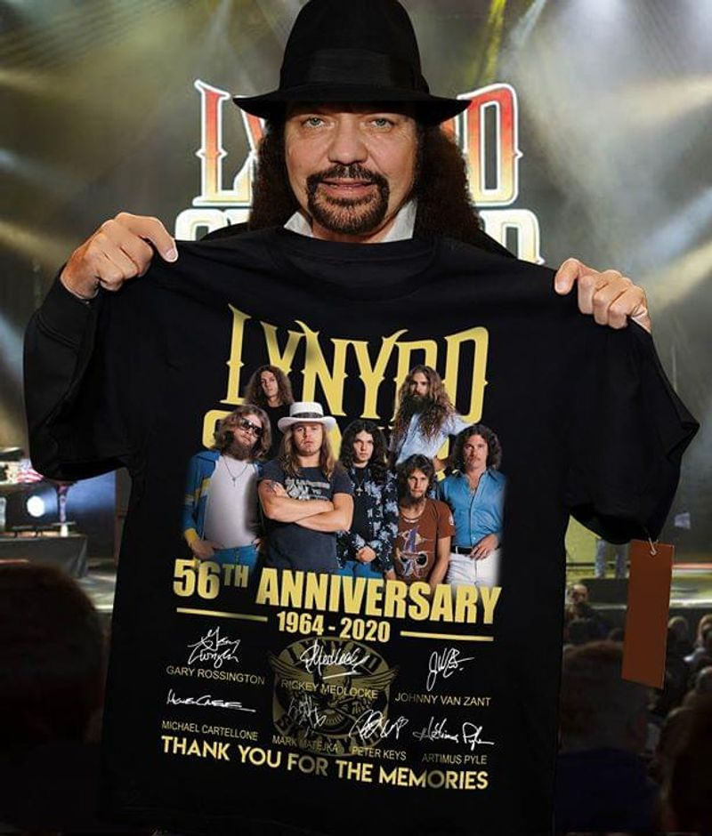 Lynyrd Skynyrd Fans 56th Anniversary Thank You For The Memories Signature Black T Shirt Men/ Woman S-6XL Cotton