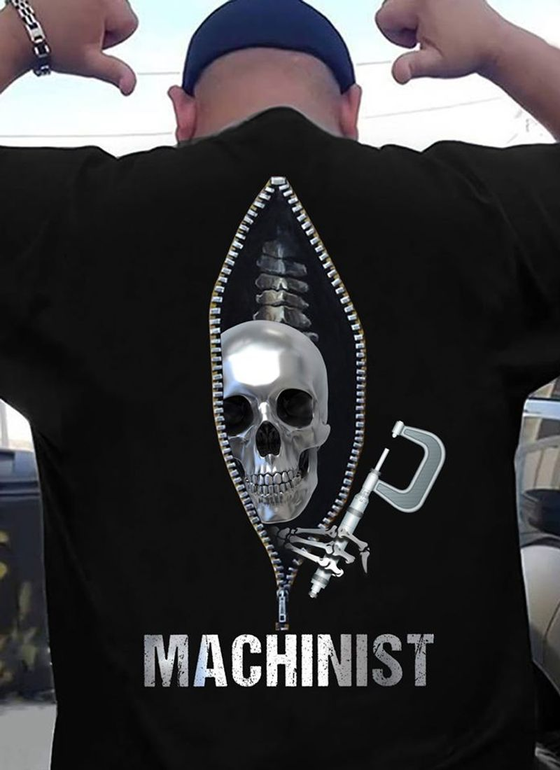Machinist Skull In Zip  T Shirt Black B5