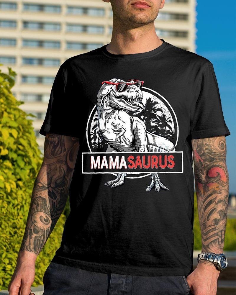 Mama Saurus Dinosaurs T Shirt Black