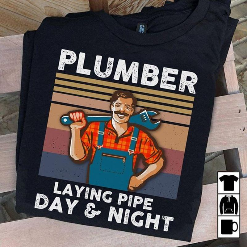 Man With Sledgehammer Plumber Laying Pipe Day And Night Black T Shirt Men And Women S-6XL Cotton
