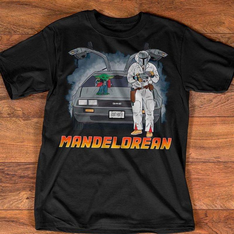 Mandalorian In A Delorean Baby Yoda Black T Shirt Men/ Woman S-6XL Cotton