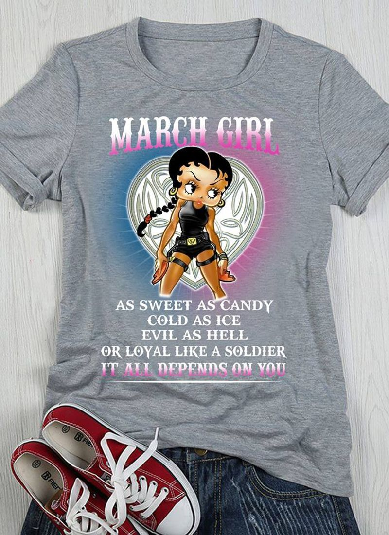 March Girl S Sweet S Candy T-Shirt Grey A8