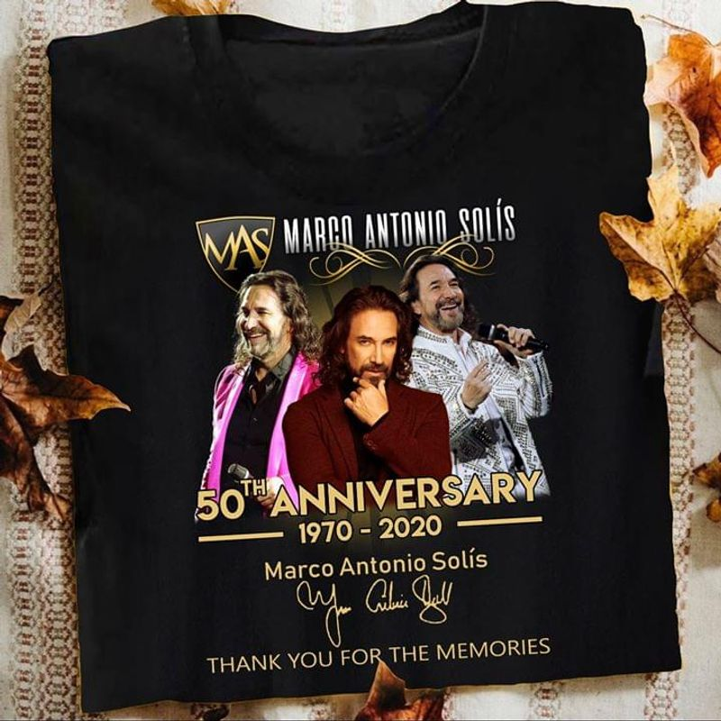 Marco Antonio Solis 50th Anniversary 1970 - 2020 Signatures Thank You For The Memories Black T Shirt Men And Women S-6xl Cotton