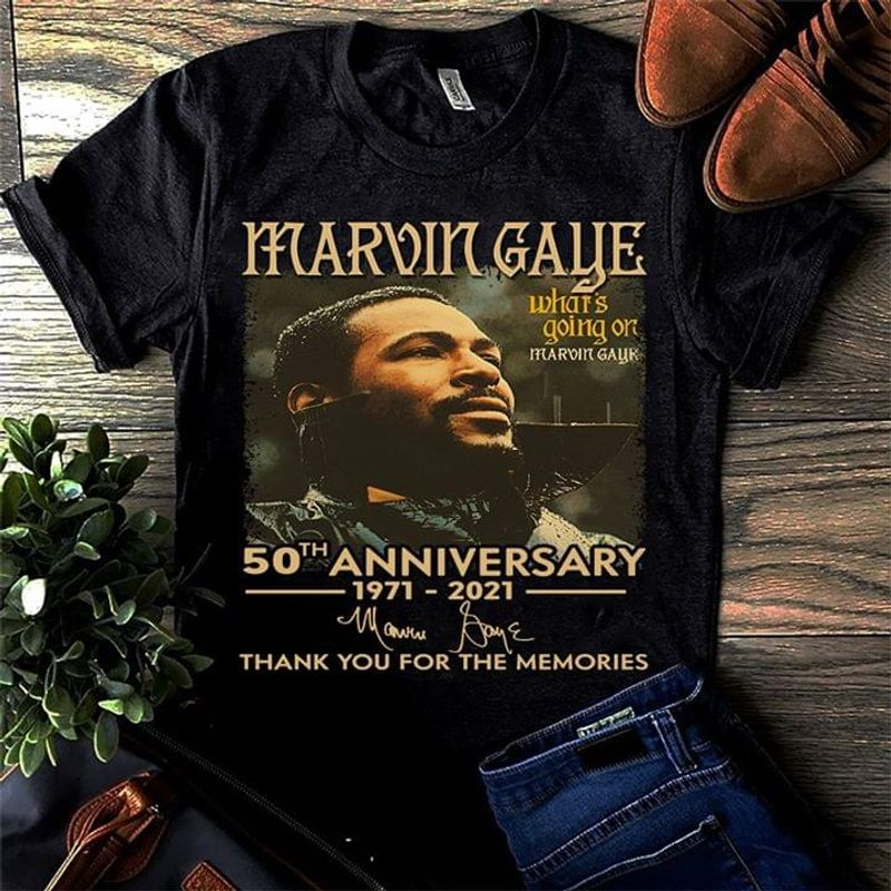 Marvin Gaye 50Th Anniversary Thank You For The Memories Signature Black Men And Women Shirt