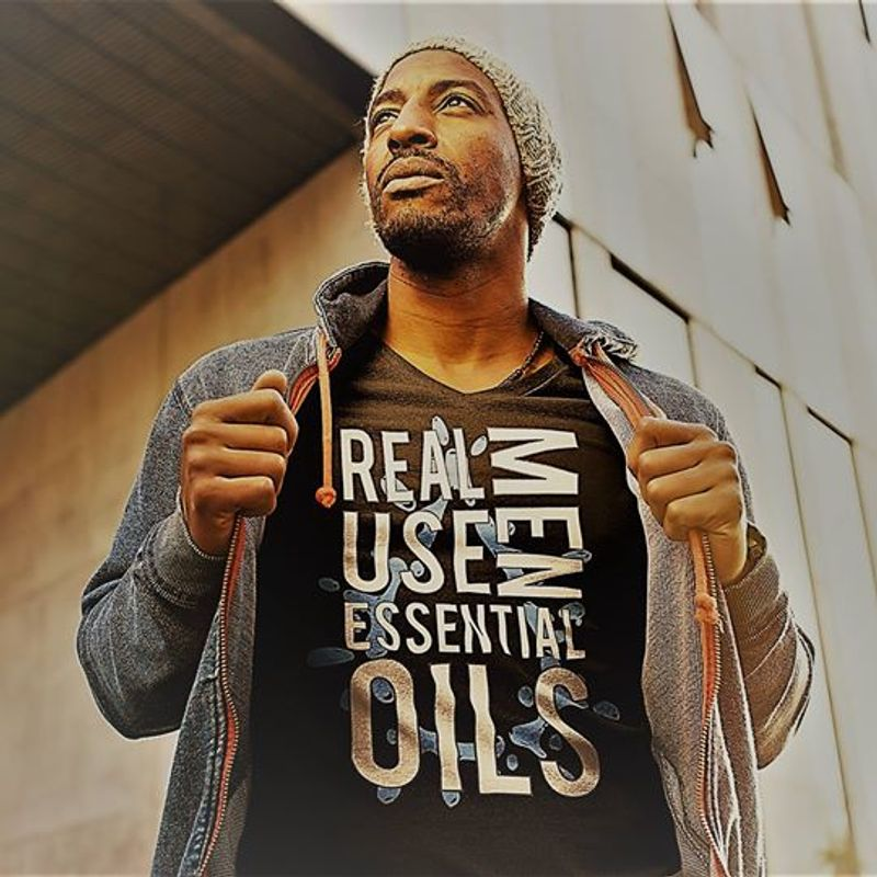 Men Real Use Essential Oils T Shirt Black A8