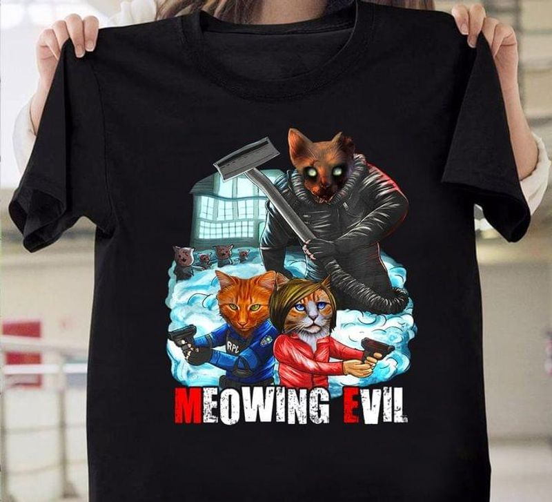 Meowing Evil T Shirt Cat Halloween Cosplay Halloween Gift Idea Black T Shirt Men And Women S-6XL Cotton