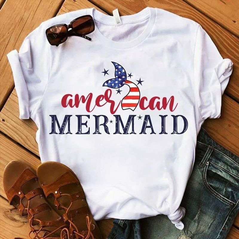 Mermaid Lover American Independence Day 4th Of July White T Shirt Men/ Woman S-6XL Cotton