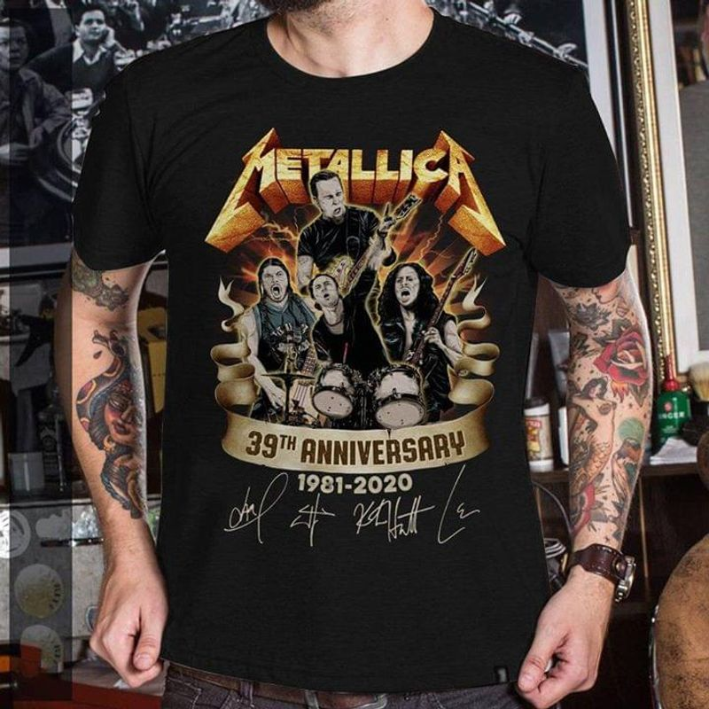 Metallica 39th Anniversary 1981-2020 Signature Black T Shirt Men/ Woman S-6XL Cotton