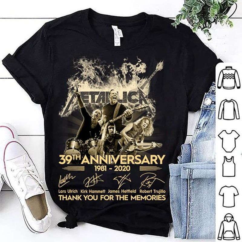 Metallica 39th Anniversary Thank You For The Memories Signatures Black T Shirt Men/ Woman S-6XL Cotton