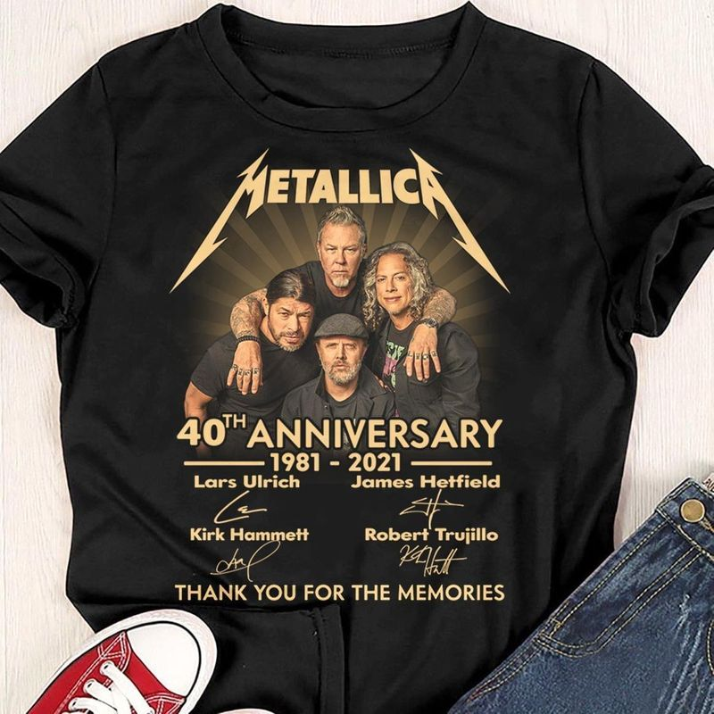 Metallica 40th Anniversary Signature Of Members Thank You For The Memories Gifts For Rock Fans Club Black T Shirt S-6xl Mens And Women Clothing