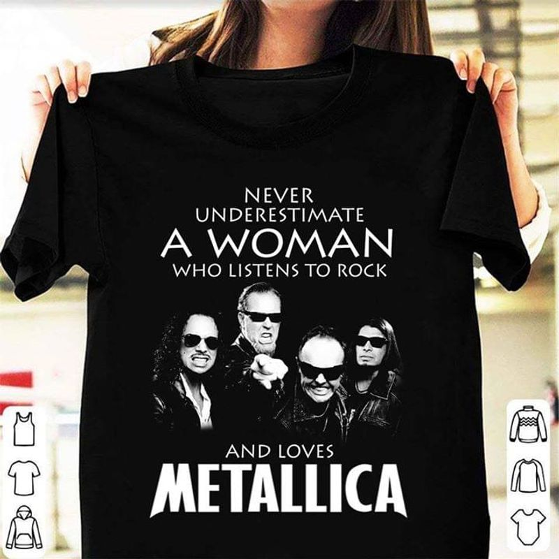 Metallica Lovers A Woman Who Listen To Rock And Loves Black T Shirt Men/ Woman S-6XL Cotton