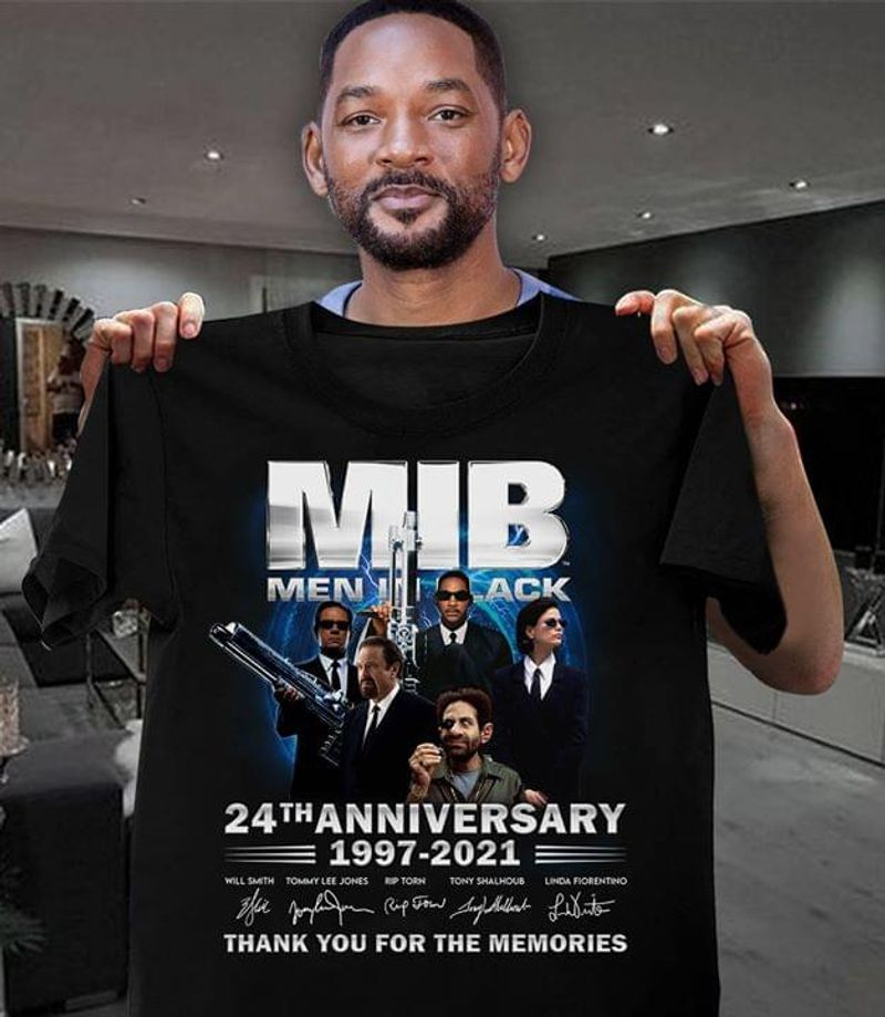 Mib Men In Black 24Th Anniversary 1997-2021 Thank You For The Memories Black T Shirt Men And Women S-6XL Cotton