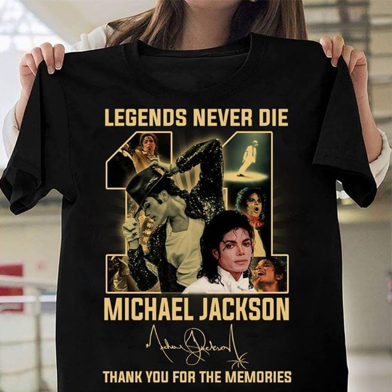 Michael Jackson Fans 11 Legend Never Die Thank You For The Memories Signature Black T Shirt Men And Women S-6XL Cotton