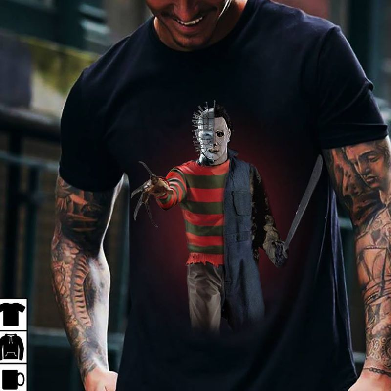 Michael Myers Jason Voorhees Freddy Kruger T-Shirt Black A8