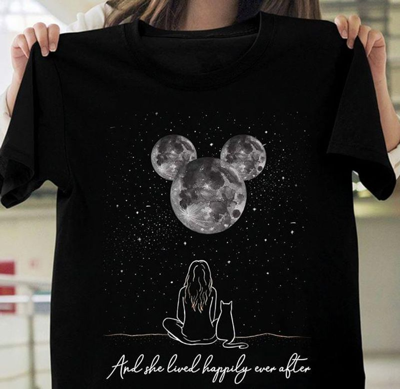 Mickey Mouse And She Lived Happily Ever After Cat And Girl Black T Shirt Men And Women S-6XL Cotton