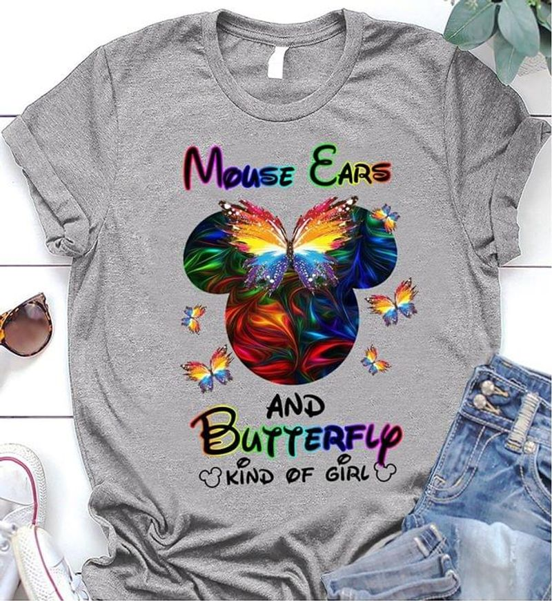 Mickey Mouse Ears And Butterfly Kind Of Girl Gift For Disney Fans Grey T Shirt Men/ Woman S-6XL Cotton