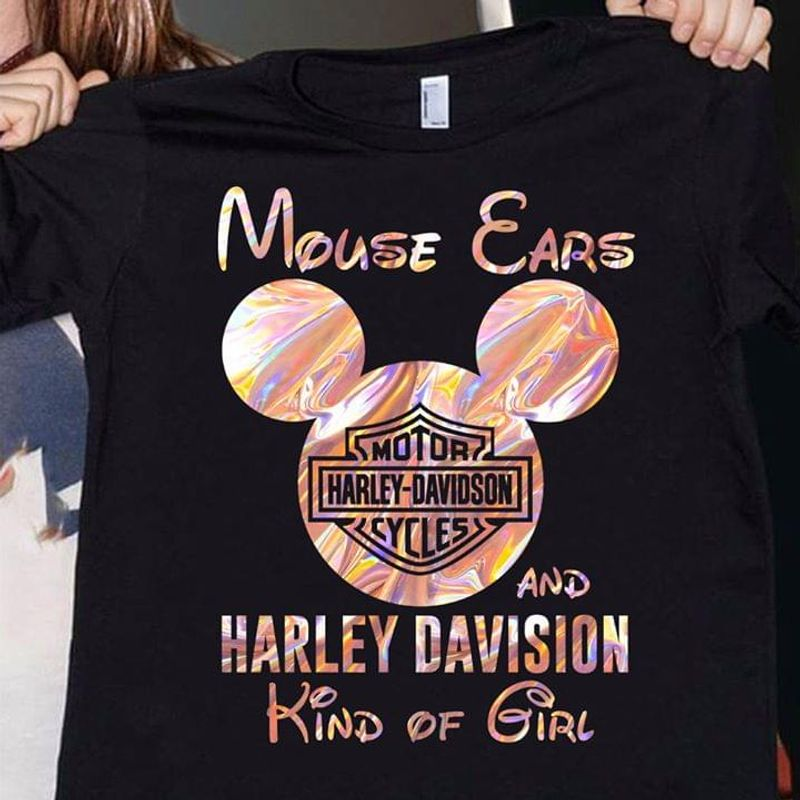 Mickey Mouse Ears And Harley Davision Kind Of Girl Black T Shirt Men/ Woman S-6XL Cotton