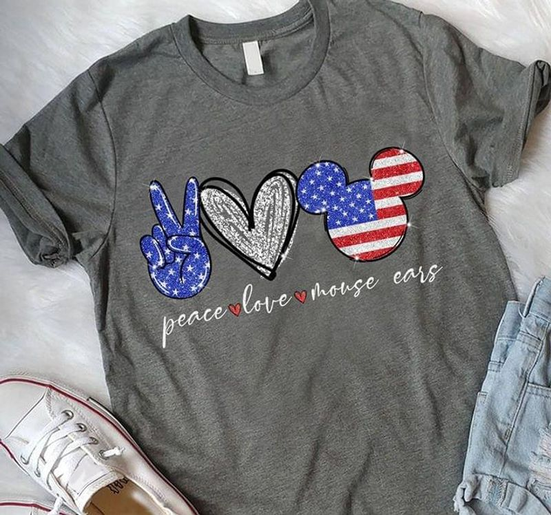 Mickey Mouse Girls Peace Love Mouse Ears Us Flag Mouse Head Dark Heather T Shirt Men/ Woman S-6XL Cotton