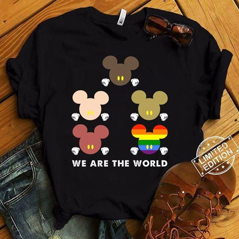 Mickey Mouse Heads Black Lives Matter Lgbt Pride We Are The World Black T Shirt Men/ Woman S-6XL Cotton
