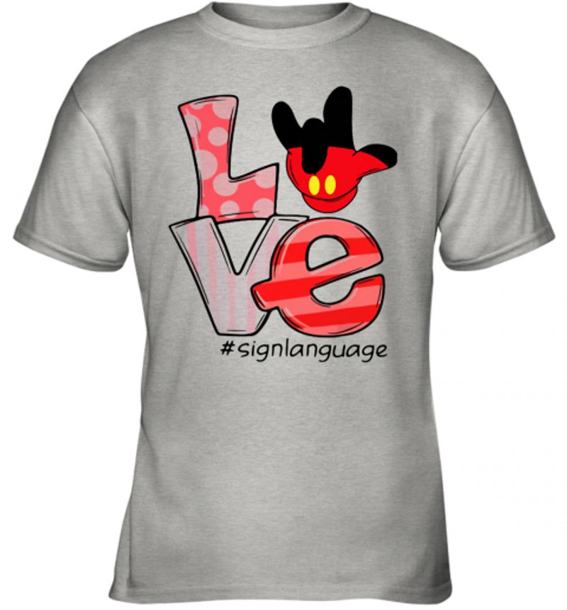 Mickey Mouse Love Sign Langue T-Shirt Grey