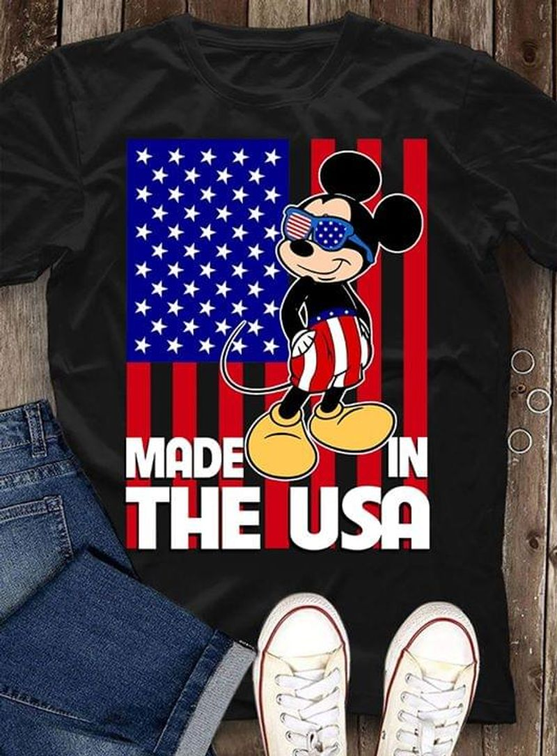 Mickey Mouse Made In The USA Independence Day 4th Of July Black T Shirt Men/ Woman S-6XL Cotton