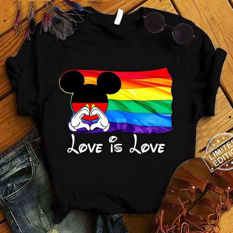Mickey Mouse Rainbow Flag Lgbt Pride Love Is Love Black T Shirt Men/ Woman S-6XL Cotton