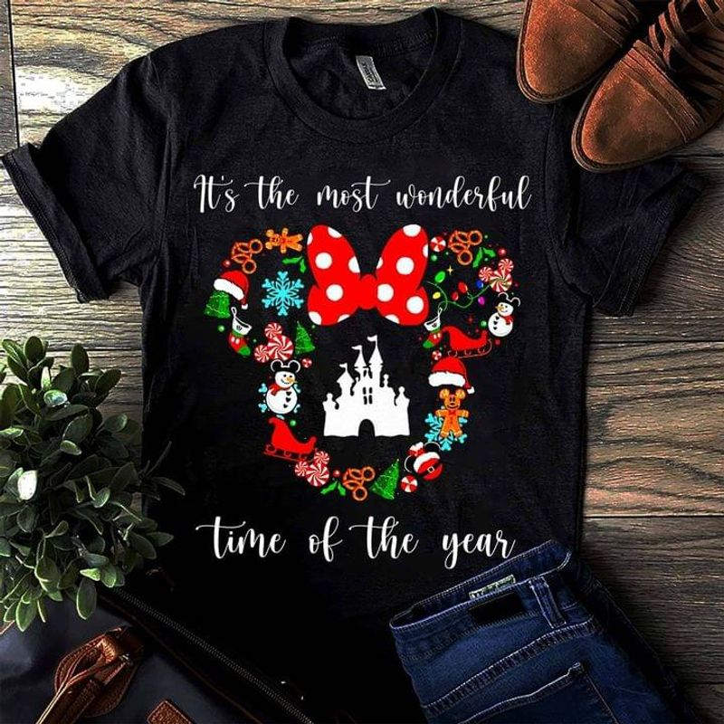 Minnie Mouse It's The Most Wonderful Time Of The Year Christmas Gift Idea Black T Shirt Men And Women S-6XL Cotton