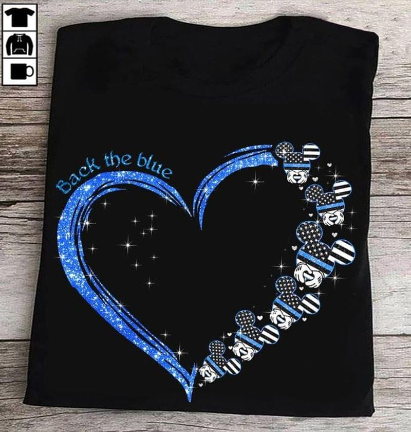Mlckey Mouse Heart Glitter Back The Blue Tee Thin Blue Line Police Support Black T Shirt Men And Women S-6XL Cotton