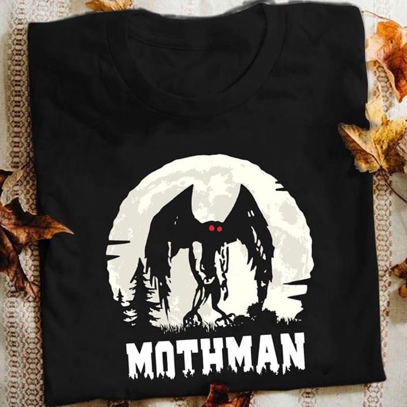 Mothman Cryptozoology Paranormal Cryptids Rumored To Be A Strange Creature With No Head Red Eyes Long Wings Black T Shirt S-6xl Mens And Women Clothing