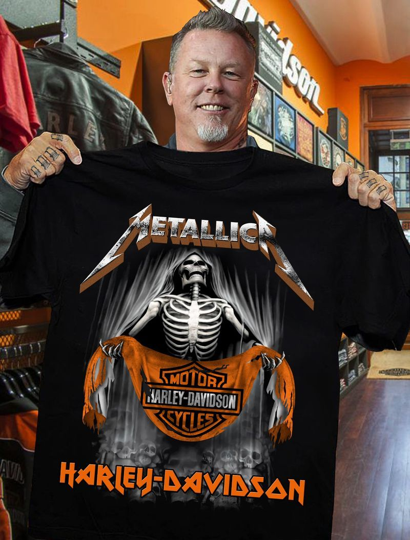 Motorcycles Harley Davidson Metallica Skeleton Men Black Tee Shirt