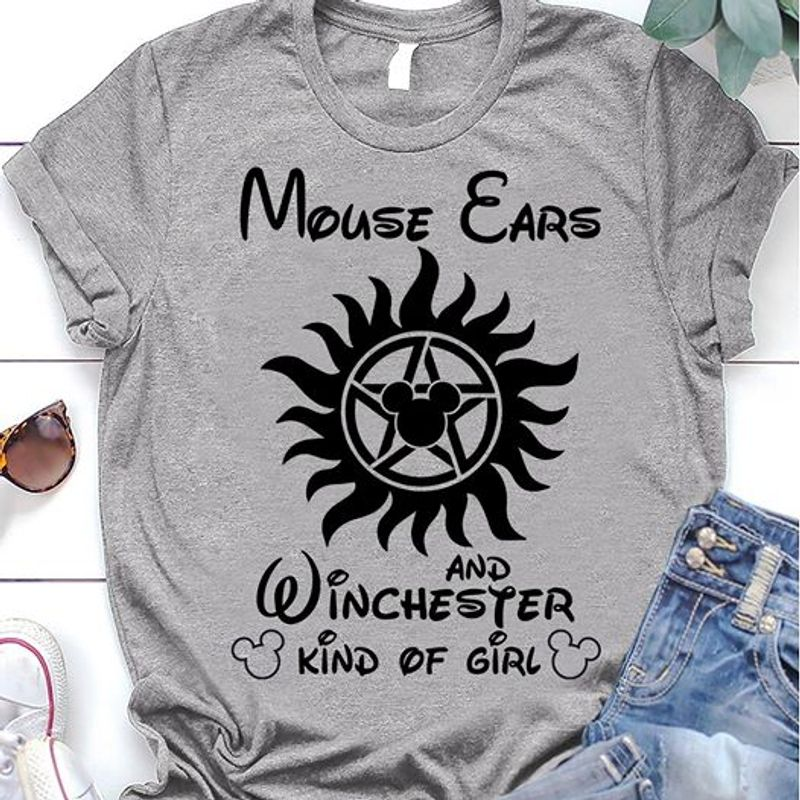 Mouse Ears And Winchester Kind Of Girl T-shirt Grey