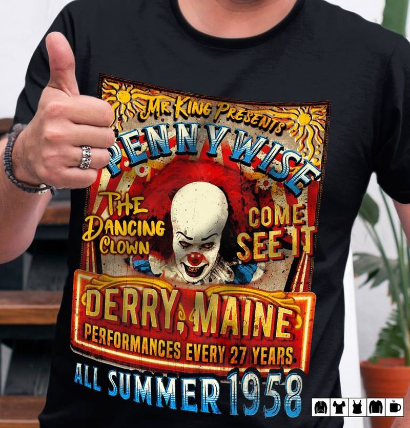 Mr King Presents Penny Wise The Dancing Clows Come See It All Summer 1958 T-shirt Black B1