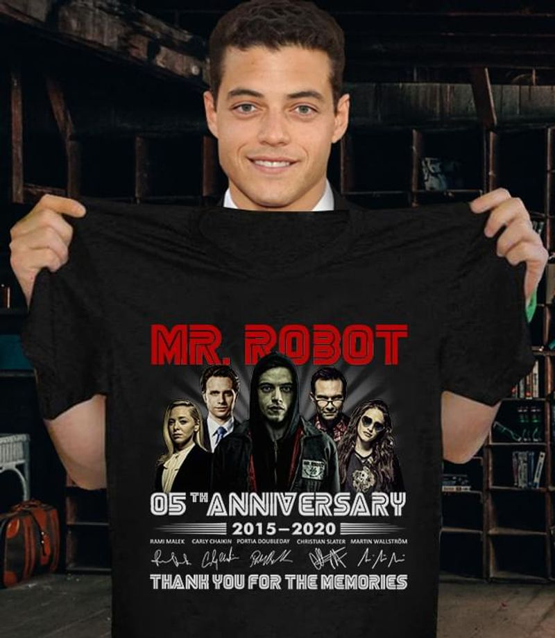 Mr Robot 05Th Anniversary 2015-2020 Thank You For The Memories Respect Black T Shirt Men And Women S-6XL Cotton
