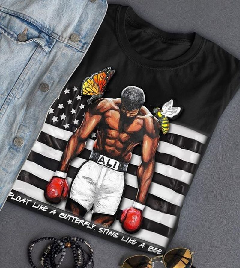 Muhammad Ali Float Like A Butterfly Sting Like A Bee Flag Black T Shirt Men/ Woman S-6XL Cotton