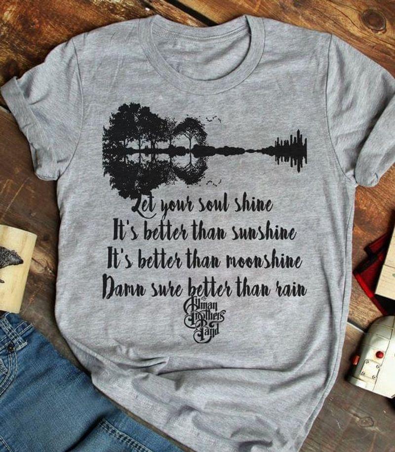 Music Guitar Tree Shirt Let Your Soul Shine Lyrics Amen Brother Fans Gift Idea Sport Grey T Shirt Men And Women S-6XL Cotton