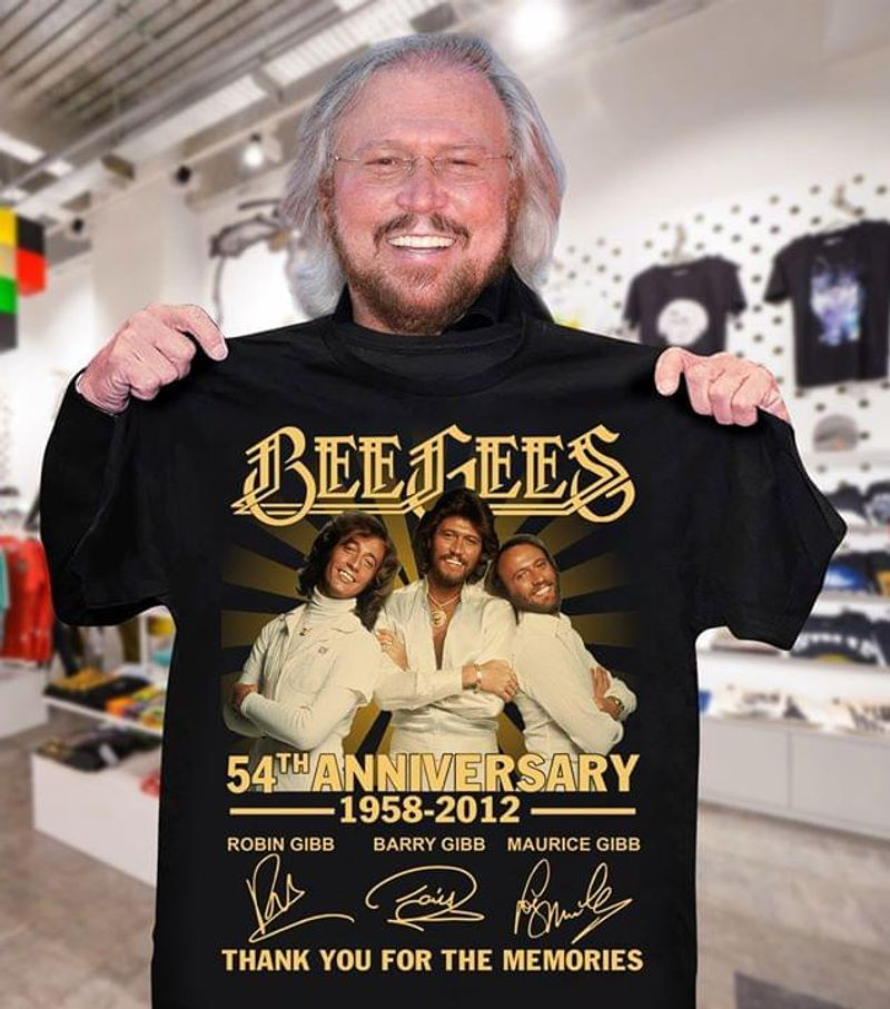 Music Lover Bee Gees Fans Ww 54th Anniversary Thank You For The Memories Signature Black T Shirt Men And Women S-6XL Cotton