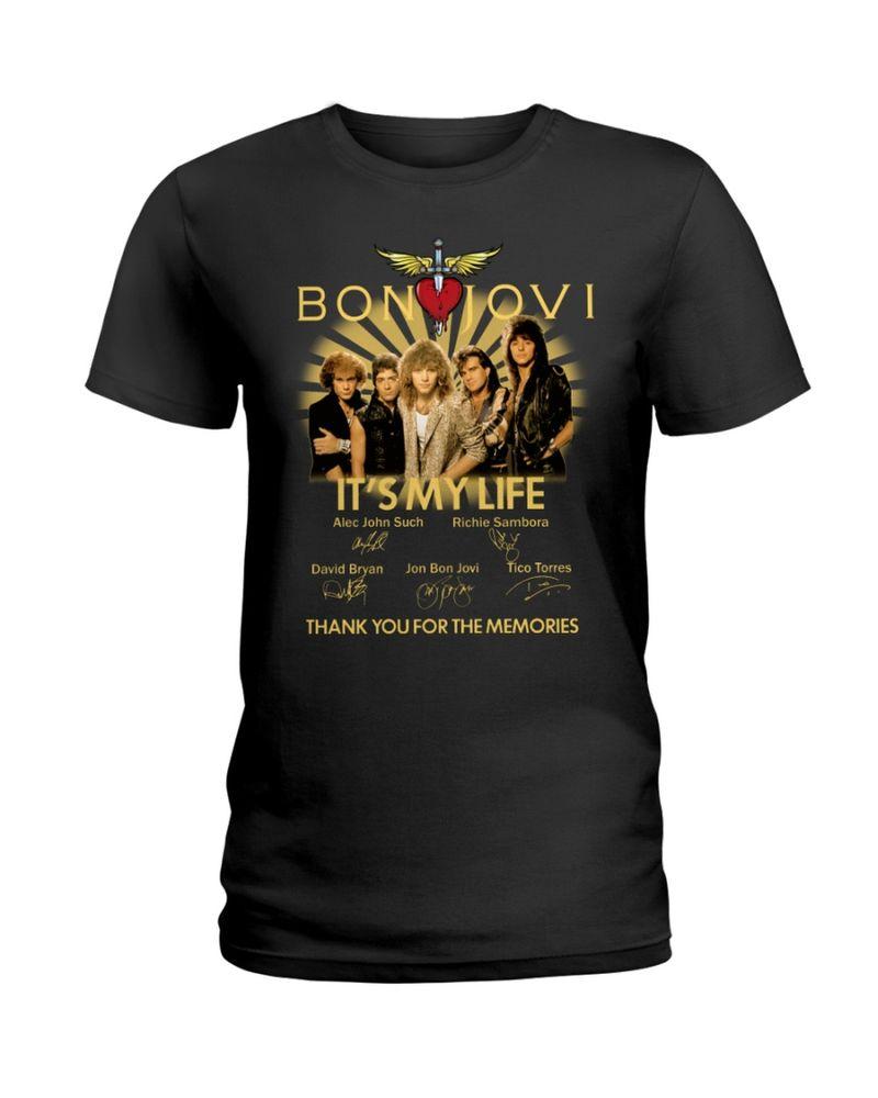 Music Lover Bon Jovi Fans It's My Life Thank You For The Memories Signature Black T Shirt Men And Women S-6XL Cotton