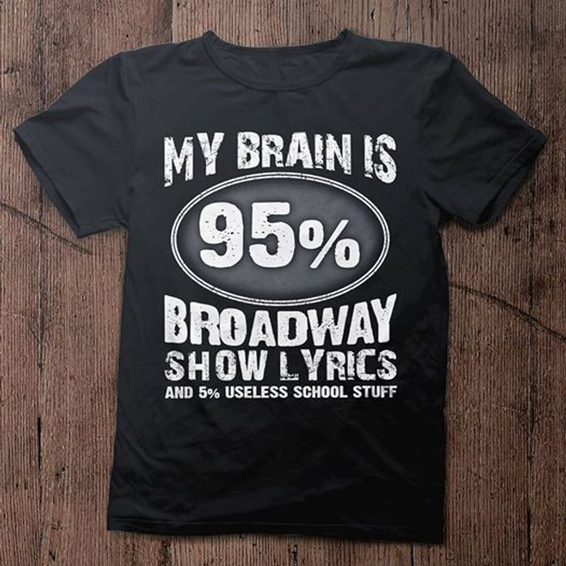 My Brain Is 95% Broadway Show Lyrics And 5% Useless School Stuff T-shirt Black A5