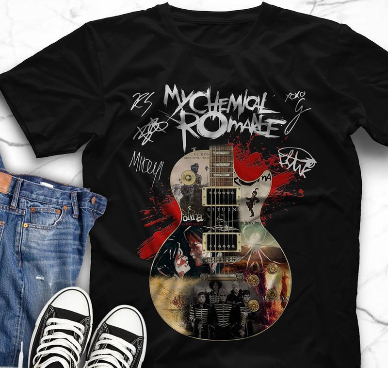 My Chemical Romance Guitar Signatures T-shirts Black