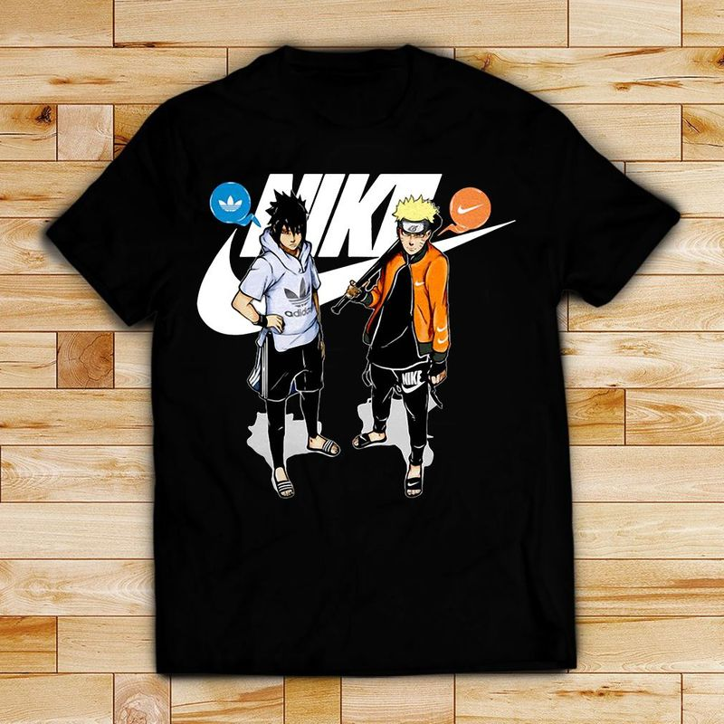 Naruto And Sasuke Nike Adidas Shirt Black