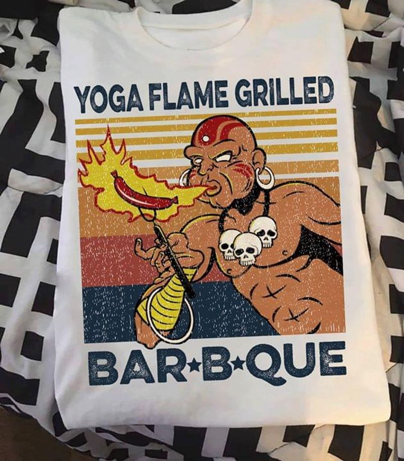 Native American Burning Sausage Yoga Fame Grilled Barbque Funny Vintage Yoga Life White T Shirt Men And Women S-6XL Cotton