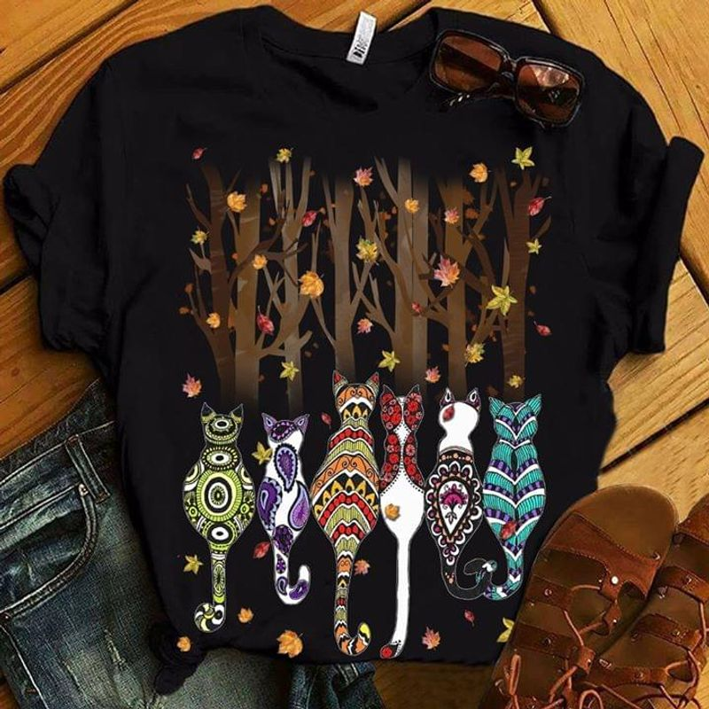 Native American Pattern Cats Best Gift For Cat Lovers Black T Shirt Men And Women S-6xl Cotton