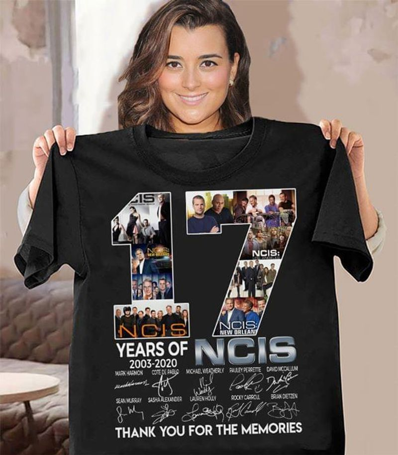 NCIS 17 Years Anniversary 2003-2020 Thank You For The Memories Signatures T-Shirt Black