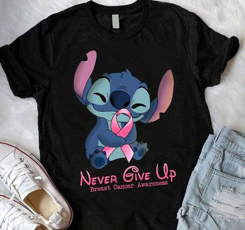 Never Give Up Breast Cancer Awareness Stitch Black T Shirt Men And Women S-6XL Cotton