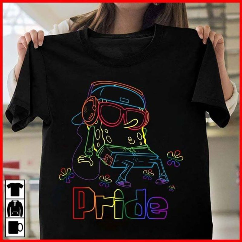 Nice T Shirt Men And Women S-6XL Cottons For You Spongebob Immersed In The Music Pride Lgbt Black T Shirt Men And Women S-6XL Cotton