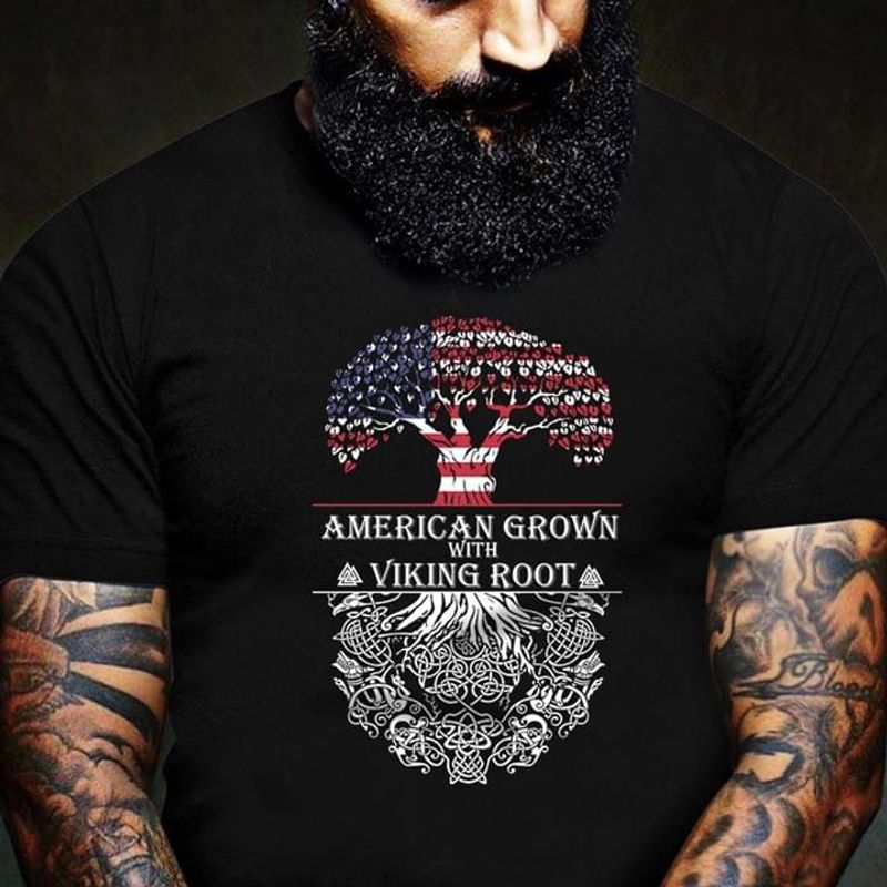 Norse Mythology Fans American Grown With Viking Root Independence Day 4th Of July Black T Shirt Men/ Woman S-6XL Cotton