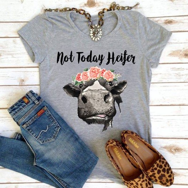 Not Today Cow   T Shirt Grey B1