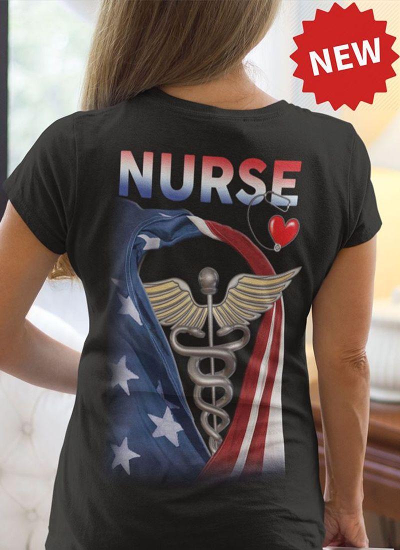 Nurse Medical Logo American Flag T Shirt Black A3