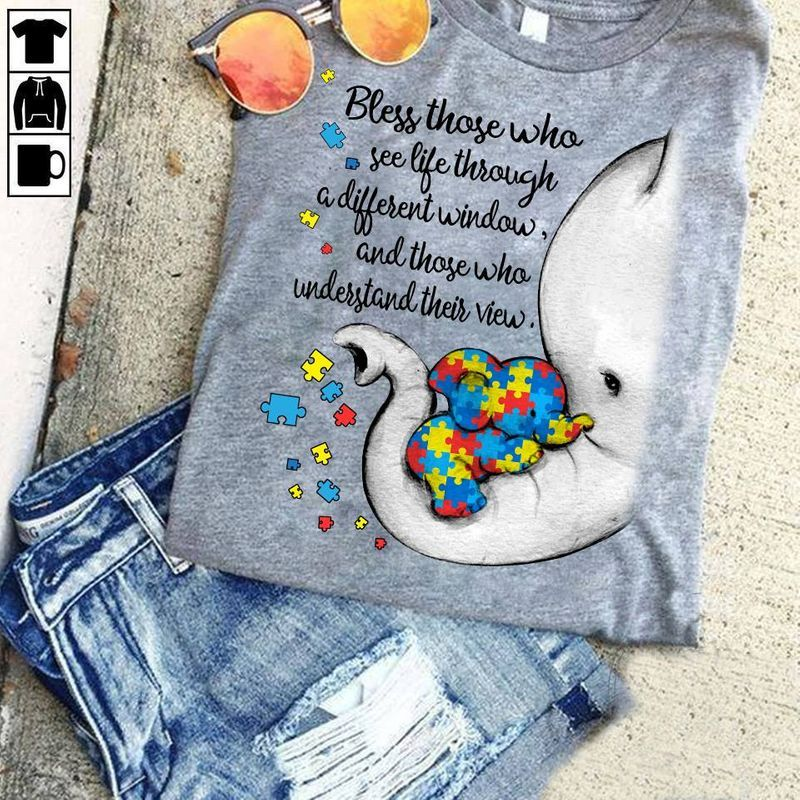 Official Autism Puzzle Elephants Bless Those Who See Life Through Window Shirt Grey